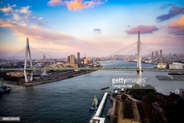 Aerial View of Osaka Bay at Sunset