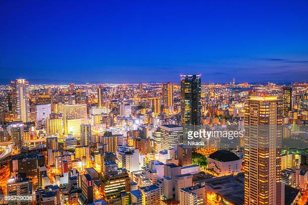 Aerial view of Osaka Skyline