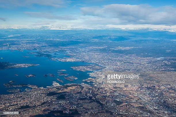 Aerial view of Oslo city and surroundings, Norway