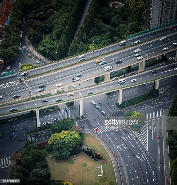 空から見た高架、上海の中国