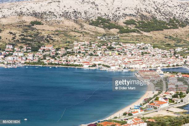 Aerial view of Pag old town in Croatia