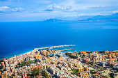 Aerial view of Palermo city and sea, Sicily island, Italy