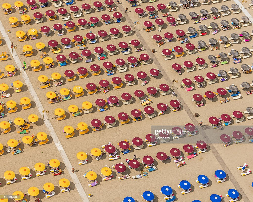 Aerial Photograph of a seaside resort at the adriatic coastline in Italy, between Ravenna and Rimini
