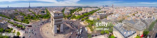 Aerial view of Paris with Arc de Triomphe and Eiffel tower