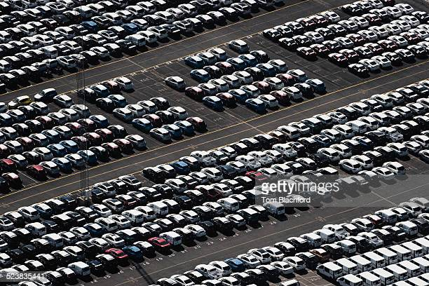 Aerial view of parked cars, waiting to be sold, Port Melbourne, Melbourne, Victoria, Australia