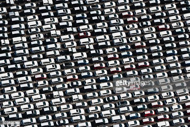 Aerial view of parked cars waiting to be sold, St Kilda, Melbourne, Victoria, Australia