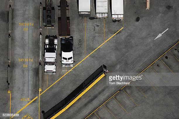 Aerial view of parked trucks, Port Melbourne, Melbourne, Victoria, Australia