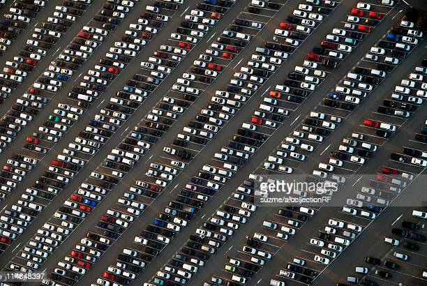 Aerial view of parking lot, Osaka Prefecture, Honshu, Japan