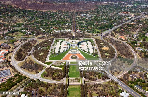 Aerial view of Parliament House, Canberra, Australia.