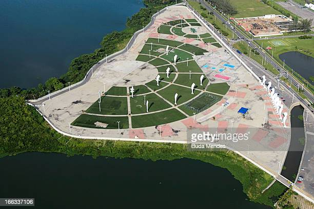Aerial view of Parque dos Atletas on April 11 2013 in Rio de Janeiro Brazil This area will be dedicated for the leisure of the competitors in the...