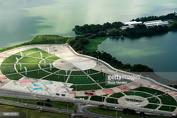 Aerial view of Parque dos Atletas on May 10 2013 in Rio de Janeiro Brazil This area will be dedicated for the leisure of the competitors in the next...