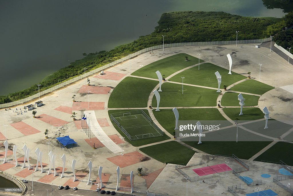 Aerial view of Parque dos Atletas (Athletes Park) on May 10, 2013 in Rio de Janeiro, Brazil. This area will be dedicated for the leisure of the competitors in the next Olympics.