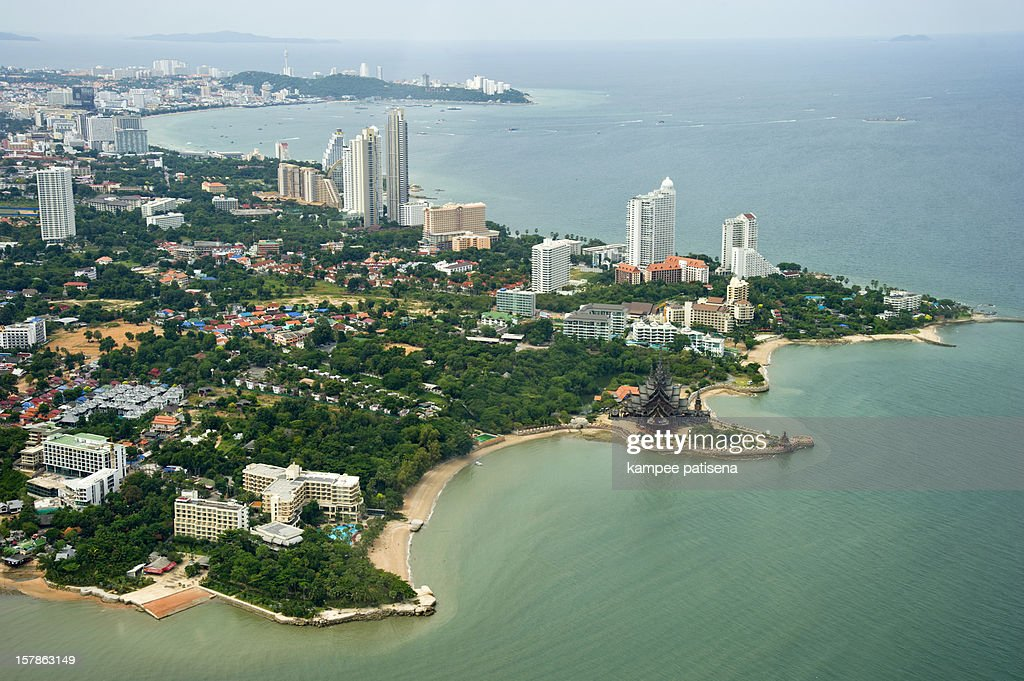 aerial view of pattaya bay : Stock Photo