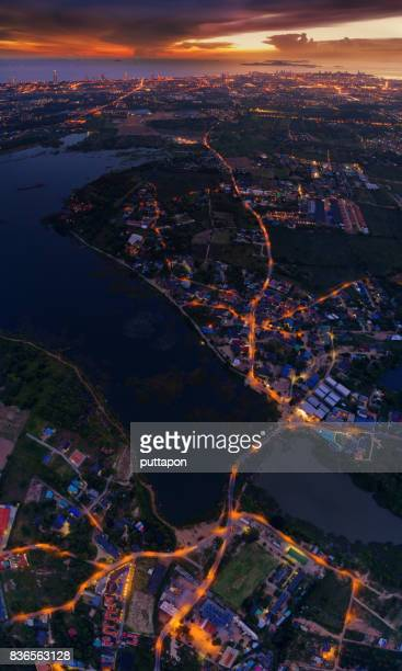 Aerial view of Pattaya city at sunset