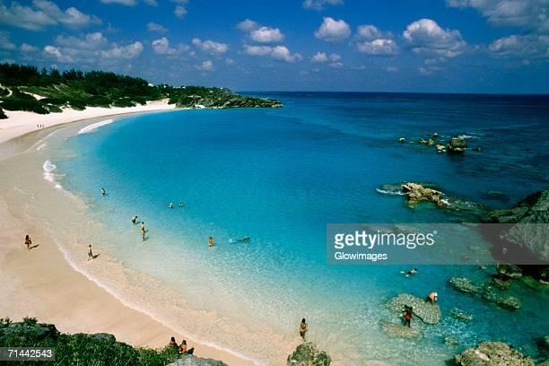 Aerial view of people at Horseshoe bay beach, Bermuda