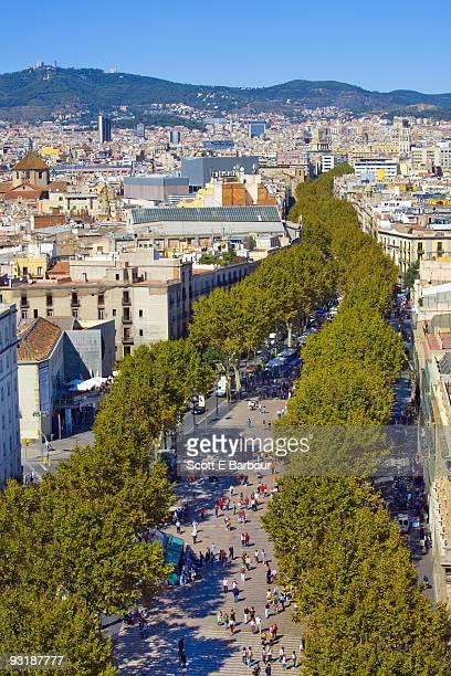 Aerial view of people shopping on La Rambla