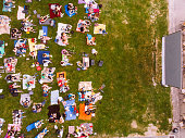 aerial view of people that watching cinema in open air cinema
