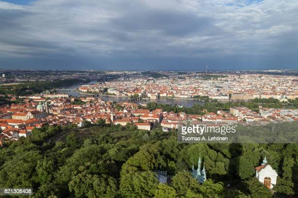 Aerial view of Petrin Hill and beyond in Prague