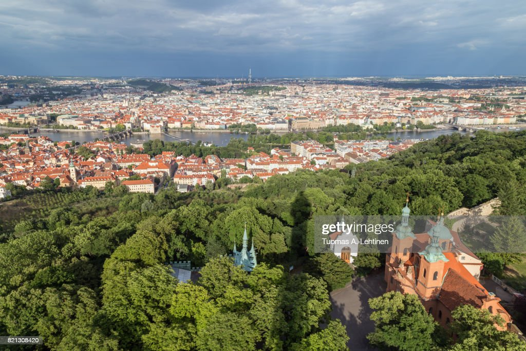Aerial view of Petrin Hill and beyond in Prague : Stock Photo