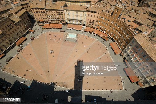 Aerial view of Piazza del Campo, Siena, Italy
