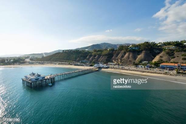 Vue aérienne de la jetée de Malibu, en Californie
