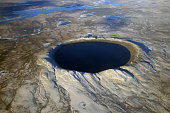 Aerial view of Pingualuit Crater, Quebec, Canada.