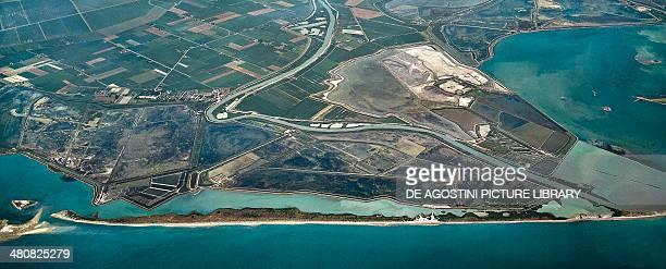 Aerial view of Po Delta in the surroundings of Boccasette Frazione of Porto Tolle Province of Rovigo Veneto Region Italy