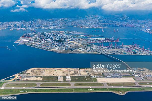 Aerial view of Port island and Kobe city