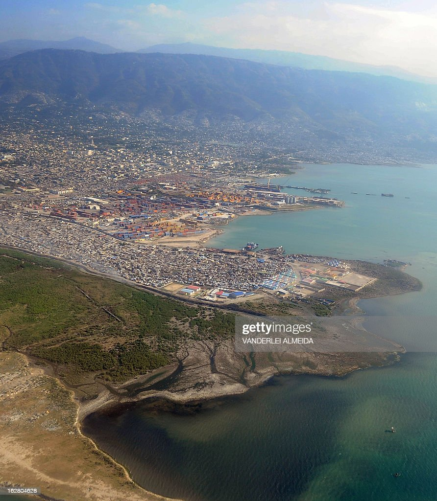 Aerial view of Port-au-Prince on February 27, 2013, taken from a Brazilian Air Force place. Brazilian troops were taken to Haiti for a UN peace mission.