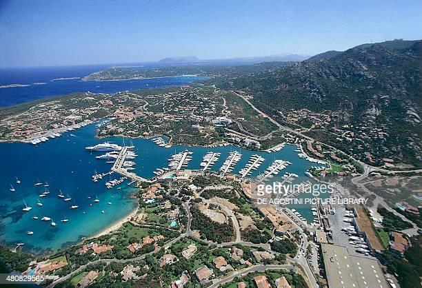 Aerial view of Porto Cervo Arzachena Costa Smeralda Province of OlbiaTempio Sardinia Region Italy