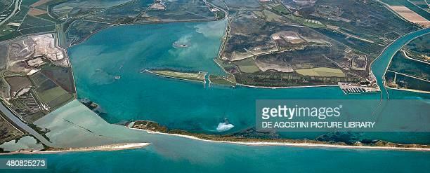 Aerial view of Porto Levante Province of Rovigo Veneto Region Italy