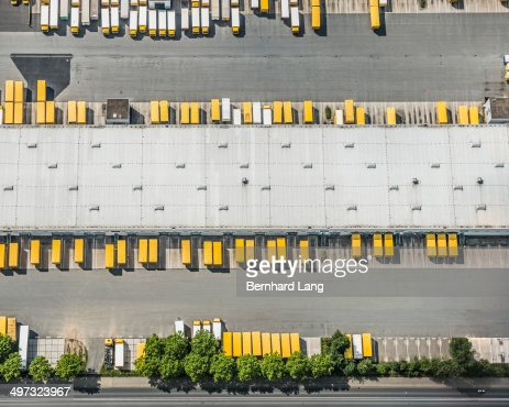 Aerial view of postal trucks and truck trailers