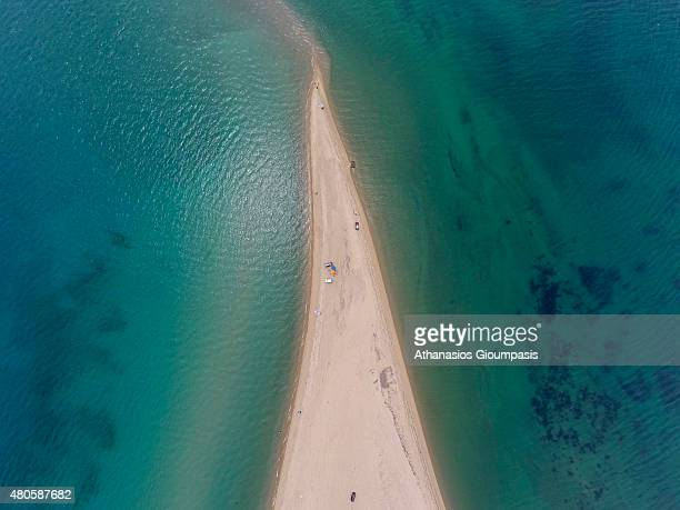 Aerial view of Potamos beach a sandy area in countryside 35 km far away from the centre of Thessaloniki on June 16 2015 in Halkidiki GreeceThe Beach...