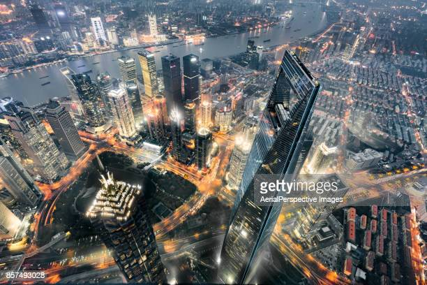 Aerial View of Prosperous Cityscape, Shanghai, China