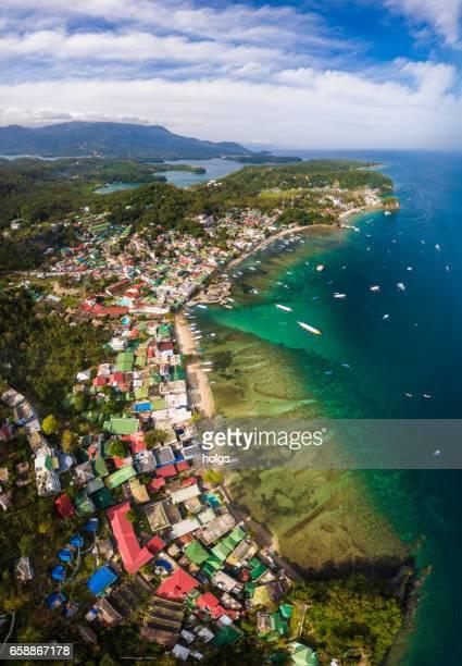 Aerial view of Puerto Galera in Mindoro Island, Philippines