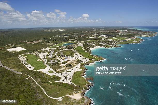 Aerial view of Punta Cana east of the Dominican Republic on April 16 2015 Dominican Republic receives each year more than five million tourists from...