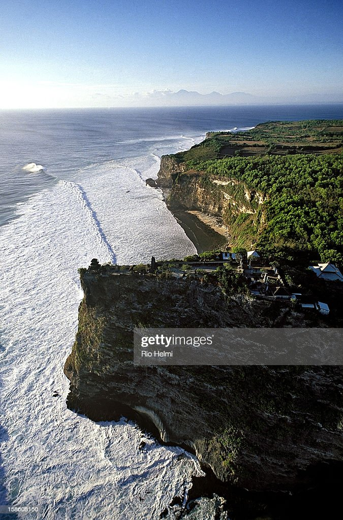 Aerial view of Pura Luwur Uluwatu (Uluwatu temple) on the southern tip of the Bukit peninsula, considered one of the holiest places in Bali..