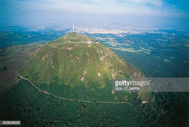 Aerial view of PuydeDome Auvergne Volcanoes regional park France
