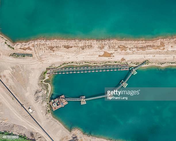 Aerial view of quarry pond