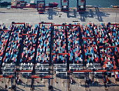 Aerial view of a container terminal