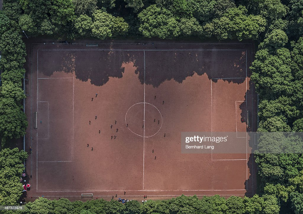 Aerial view of red soccer field : Stock Photo