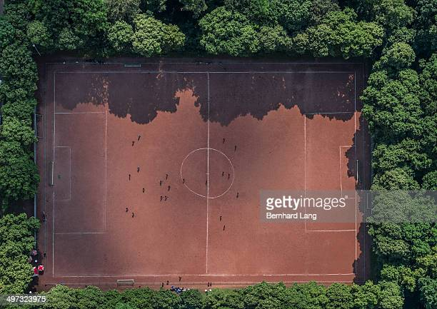 Aerial view of red soccer field