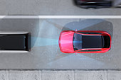 Aerial view of red SUV emergency braking to avoid car crash. Automatic Emergency Braking (Emergency brake system) concept. 3D rendering image.