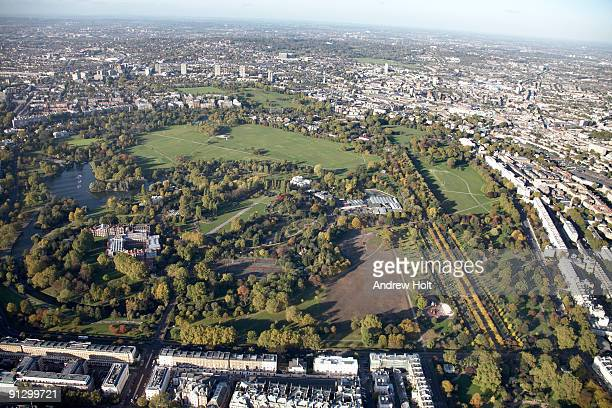 Aerial view of Regents Park and Camden