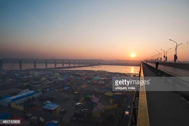 Aerial view of residential tents at Maha Kumbh, Allahabad, Uttar Pradesh, India