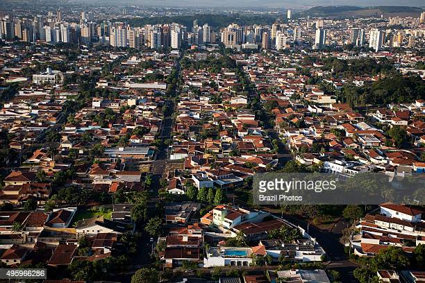 Aerial view of Ribeirao Preto city Sao Paulo State Brazil highclass residential district Development of agribusiness in this region attracts skilled...
