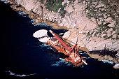 Aerial view of rig on coastline