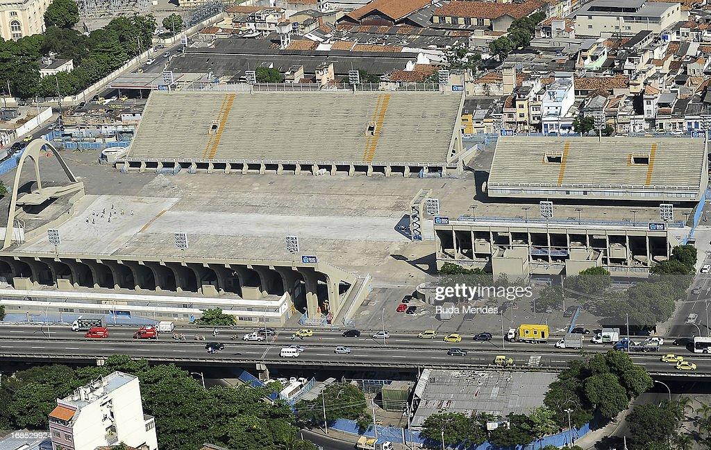 Aerial view of Rio de Janeiro's Sambadrome on May 10, 2013 in Rio de Janeiro, Brazil.