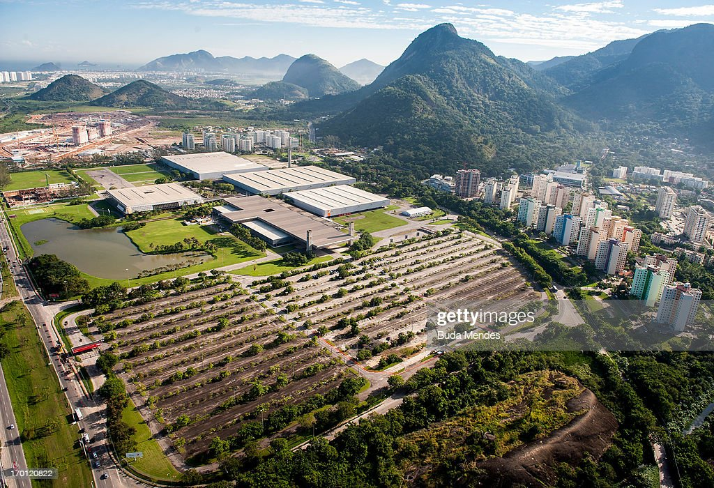 Aerial view of Riocentro Convention Center which is undergoing renovations ahead Rio 2016 Olympic Games on June 6, 2013 in Rio de Janeiro, Brazil.
