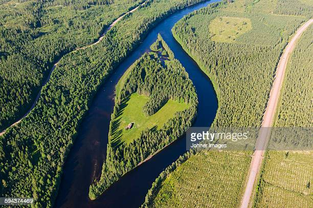 Aerial view of river and road, Osterdalalven, Dalarna, Sweden
